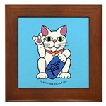 ILY Neko Cat Blue Framed Tile