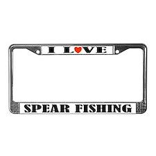 I Love Spear Fishing License Plate Frame