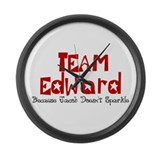 Team Edward Jacob doesn't spa Large Wall Clock