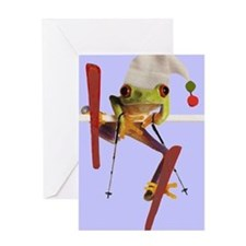 Ski Frog Greeting Cards