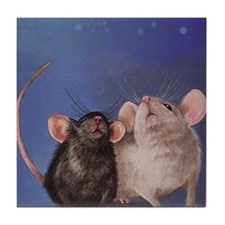 Two Cute Mice Tile Coaster