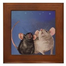 Two Cute Mice Framed Tile