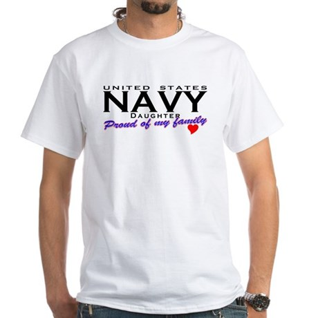 US Navy Daughter White T-Shirt