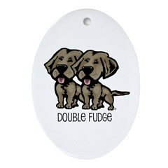 Double Fudge Lab Oval Ornament