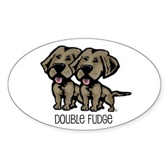 Double Fudge Lab Oval Sticker