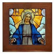 Mary window Framed Tile