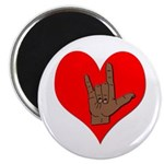 Sign Language I Love You ILY Sign Button Magnet