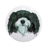 Black and White Schnoodle Ornament (Round)
