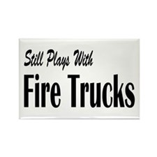 Plays with Fire Trucks Rectangle Magnet