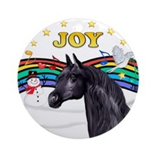 Xmas Music 1/Black Arabian Horse Ornament (Round)