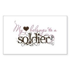My Heart Belongs to a Soldier Rectangle Decal
