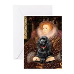 Queen / Cocker Spaniel (blk) Greeting Cards (Pk of