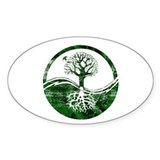 Yin Yang Tree Oval Bumper Stickers