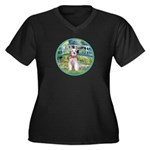 Bridge/Schnauzer #9 Women's Plus Size V-Neck Dark