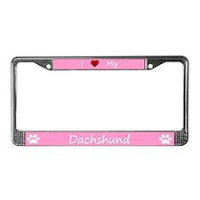 Pink I Love My Dachshund License Plate Frame