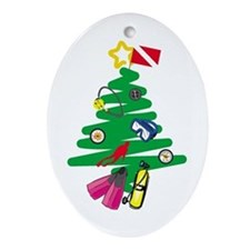 A Very Scuba Christmas Oval Ornament