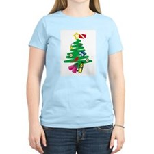 A Very Scuba Christmas Women's Pink T-Shirt