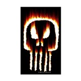 Skull Flames Rectangle Bumper Stickers
