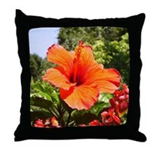 Flaming Hibiscus Throw Pillow