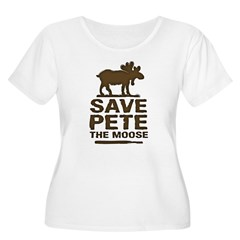 Save Pete the Moose Women's Plus Size Scoop Neck T