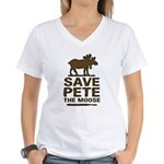Save Pete the Moose Women's V-Neck T-Shirt