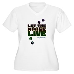 Let the Moose Live Women's Plus Size V-Neck T-Shir