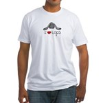 I Heart Lop Rabbits Fitted T-Shirt