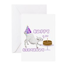 Happy 1st B-day goat Greeting Cards (Pk of 10)