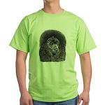 Black Poodle Green T-Shirt