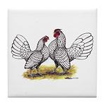 Silver Sebright Bantams Tile Coaster