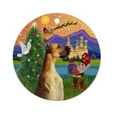 Great Dane Christmas Fantasy Ornament (Round)