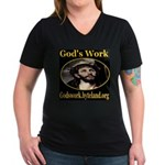 God's Work Women's V-Neck Dark T-Shirt