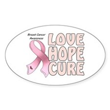 Breast Cancer Awareness Oval Stickers