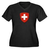 Swiss Shield Women's Plus Size V-Neck Dark T-Shirt