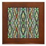 Copper Turquoise Pattern Framed Tile