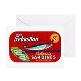 Sebastian Sardine Label Greeting Cards (Pk of 10)