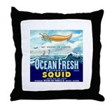 Vintage Squid Label 1 Throw Pillow