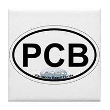 Pensacola Beach Oval Design Tile Coaster