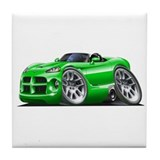 Viper Roadster Green Car Tile Coaster