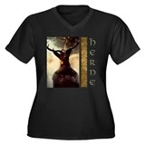 Herne the Hunter Women's Plus Size V-Neck Dark T-S