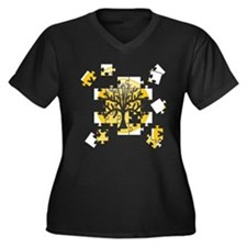 Tree Jigsaw Women's Plus Size V-Neck Dark T-Shirt