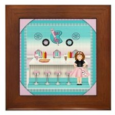 Funny Soda fountain Framed Tile