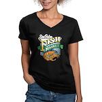 San Pedro Fish Market Women's V-Neck Dark T-Shirt