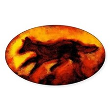 Fire Wolf Oval Decal