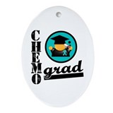 Ovarian Cancer Chemo Grad Oval Ornament