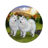 SAMOYED DOGS FALL DAY Ornament (Round)