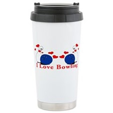 I Love Bowling Ceramic Travel Mug