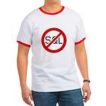 """No SQL"" Ringer Shirt, Black and Red"