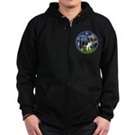 Starry / Border Collie (Z) Zip Hoodie (dark)