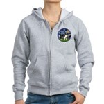 Starry / Border Collie (Z) Women's Zip Hoodie